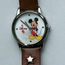 Brand-New Disney Mickey Mouse Watch With Silver Dial and Red Stars! HTF! Cute!