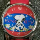 New! Peanuts Colorful Snoopy Watch! Beautiful Colors! Signature Red Leather Band