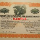 Meteor Crater, Canyon Diablo Mining Venture, 1928 Stock Certificate