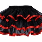 Layered Satin Trim Petticoat black/red One Size