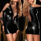 Lace-up Wetlook Lame Dress black One Size