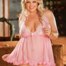 Plus Size Lace Cup Babydoll Set pink