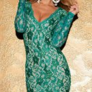 Scalloped Lace Bodycon Dress turquoise L