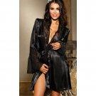 Satin Lace & Chiffon Robe black One Size