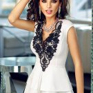 Lace Applique V Neck White Peplum Top S