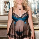 Satin Mesh Lace Babydoll teal/black XL