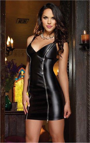 Double Zipper Wetlook Lame Mini Dress M/L