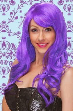Long Wig with Wave Curls Purple