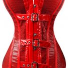Glossy PVC Vinyl Buckles Corset red M