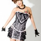 Love Lace Steel Busk Corset & Skirt pink/black L