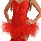 Jacquard Damask Corset & Tutu red XL