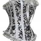 Velvet Applique Taffeta Corset white/black 1xl/2xl