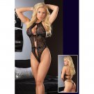 Tie Front Lace Teddy black One Size