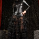 Wetlook Lame and Mesh Gown black M
