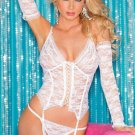 White 3pcs Stretch Lace Garter Bustier Set M/L