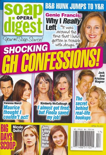 General Hospital Confessions, Genie Francis - April 29, 2013 Soap Opera Digest Magazine