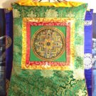 Tibetan Hand Painted Om Kalachakra Mandala Silk Embroidery Thangka Wall hanging