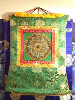 Tibetan Hand Painted Om Kalachakra Mandala Silk Embroidery Thangka Wall hanging