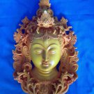 "12 "" Handmade Fishbone Powerful Tibetan Goddess White Tara Mask Wall Hanging"