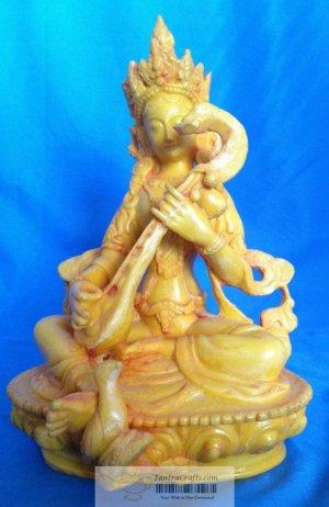 "8 "" Handmade Fishbone Powerful Goddess Statue of Knowledge - Saraswati on lotus"