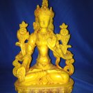 "8""Handmade Fishbone Powerful Tibetan Goddess White Tara on Lotus Statue"