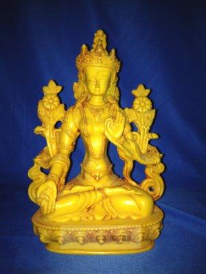 """8""""Handmade Fishbone Powerful Tibetan Goddess White Tara on Lotus Statue"""