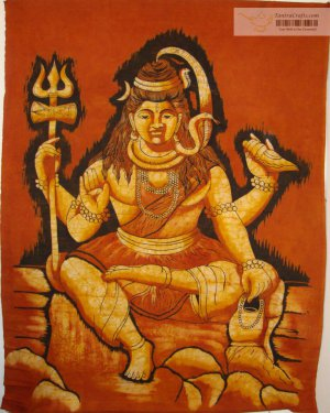 "38/498"" Rare High Quality Handmade Lord Shiva Batik Wall hanging"