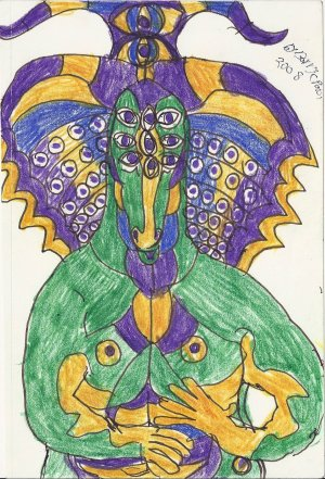 Signed Ink Drawing by Visionary Barry Paul: Alien outsider Art Brut #1