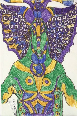 Signed Ink Drawing by Visionary Barry Paul: Alien outsider Art Brut #2