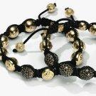 2PCS European New Black Crystal Hip Hop Disco Balls Macrame Bracelet Charm Beads-CP081