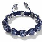 10MM European New Blue Crystal Hip Hop Disco Balls Macrame Bracelet Charm Beads-CP029