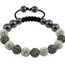 Hot 10MM Disco Magnetite Ball Beads Macrame 11  Crystal Bracelet 115