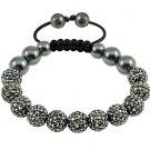 Hot 10MM Disco Magnetite Ball Beads Macrame 11  Crystal  Bracelet 113