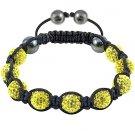 Hot Sell 10MM Disco Magnetite Ball Beads Macrame 9  Crystal Bracelet 87