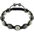 Hot Sell 10MM Disco Magnetite Ball Beads Macrame 9  Crystal  Bracelet 90