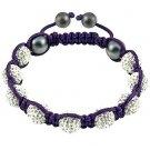 Hot Sell 10MM Disco Magnetite Ball Beads Macrame 9 Crystal Bracelet 103
