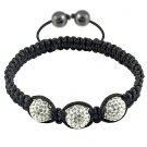 Hot Sell 12MM Disco Magnetite Ball Beads Macrame 3 Crystal  Bracelet 141