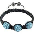 Hot Sell 12MM Disco Magnetite Ball Beads Macrame 3  Crystal  Bracelet 144