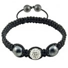 Hot Sell 12MM Disco Magnetite Ball Beads Macrame  Crystal  Bracelet 123