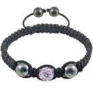 Hot Sell 12MM Disco Magnetite Ball Beads Macrame Crystal  Bracelet 125