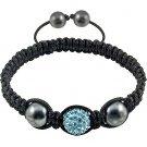 Hot Sell 12MM Disco Magnetite Ball Beads Macrame   Crystal  Bracelet 126