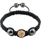 Hot Sell 12MM Disco Magnetite Ball Beads Macrame   Crystal  Bracelet 133