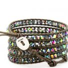 Hot  Sell  crystal beads Handmade on Brown leather 5 wrap bracelet   CL-112