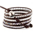 Hot  Sell  crystal beads Handmade on Brown leather 5 wrap bracelet CL-109