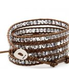 Hot  Sell  crystal beads Handmade on Brown leather 5 wrap bracelet CL-115