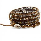 crystal beads Handmade on Brown leather 5 wrap bracelet CL-100