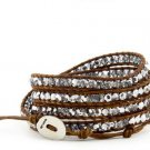 crystal beads Handmade on Brown leather 5 wrap bracelet CL-101