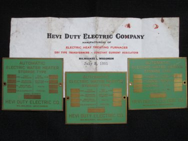 Hevi Duty Electric Co., Milwaukee WI - Vintage Brass Product Information Plates (3)