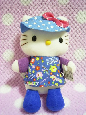Hello Kitty Star Printed Sun Visor Sporty Plush doll 2003 EIKOH x Sanrio Japan
