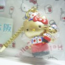 HELLO KITTY w/ Bear GOTOCHI OSAKA JAPAN Only! Figure Strap Gold Sanrio 2000 RARE